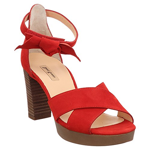 Paul Green 7127-024 Damen modische Sandalette aus Veloursleder mit 80-mm-Absatz, Groesse 41, rot