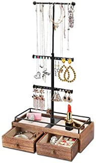 VALMS Jewelry Organizer Metal & Wood Basic Storage Box - 3 Tier Jewelry Adjustable Stand for Necklaces Bracelet Earrings R...