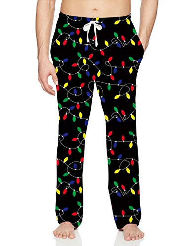 Mens Christmas Pajama Casual Winter Holiday Warm PJ's Bottoms Tinted Multi Light Up Funny Lounge Pants with Elastic Waist for Grandpa Dad Gift