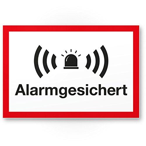 Alarmgesichert Kunststoff Schild (weiß-rot 30 x 20 cm) - Achtung/Vorsicht Alarmgesichert - Hinweis/Hinweisschild Alarm - Haus/Gebäude/Objekt