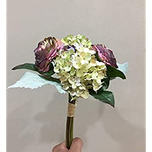 Choolle – 3pcs 29cm High Grade Artificial Flower Ranunculus Hydrangea Flower Bouquet Wedding Ceremony Hand Tied Bouquet Europ Retro Style