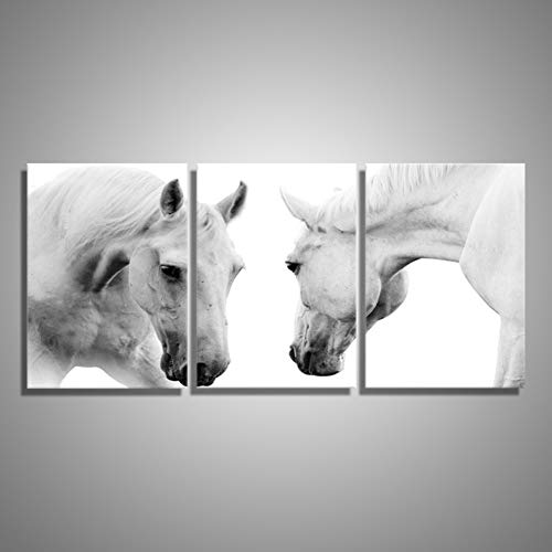 ZXCVWY 3 panelen paarden witte decoratie dier schilderij op canvas muur kunst paard schilderij voor woonkamer slaapkamer