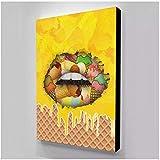 YQQICC Impresiones HD modulares Imagen de helado Decoración para el hogar Pinturas de labios Postre Lienzo Póster Arte de pared minimalista para sala de estar - 50x60cm Sin marco