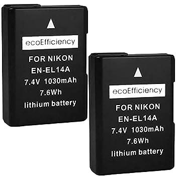ecoEfficiency 2-Pack of EN-EL14 EN-EL14A Batteries for Nikon D3500 D3100 D3200 D3300 D3400 D5100 D5200 D5300 D5500 D5600 DF Coolpix P7000 P7100 P7700 P7800 DSLR Cameras
