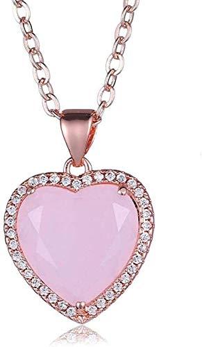 Collares Pendientes De Piedra Para Mujer Con Diamantes De Imitación Envueltos Piedras Preciosas Naturales Facetadas Corazón Rosa Collar Con Colgante De Cristal Con Cadena De Oro Rosa Regalo De Joyería