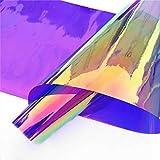 Zaione, pellicola olografica in PVC trasparente olografica olografica in vinile trasparente a specchio per scarpe, borse, cucito, patchwork, fiocco fai da te, 45 cm x 95 cm, rotolo (viola)
