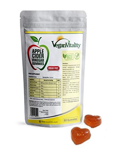 Apple Cider Vinegar Gummies LIBRES DE AZÚCAR, Alternativo a las Cápsulas de Vinagre de Manzana, Gomitas Veganas ACV Enriquecidas con Superalimentos y Vitamina B6 y B12