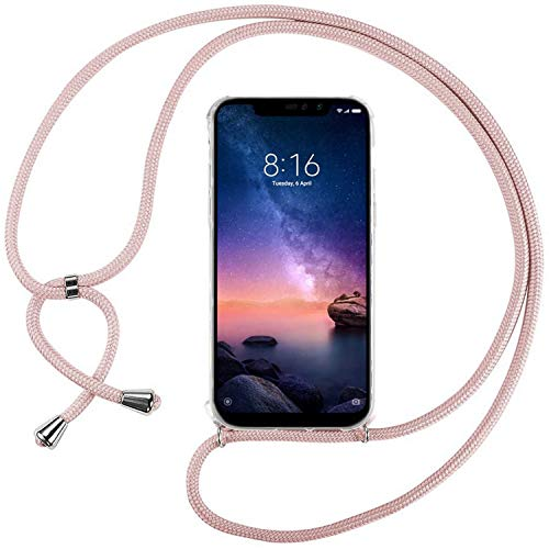 Ingen Funda con Cuerda para Xiaomi Redmi Note 6 Pro - Carcasa Transparente TPU Suave Silicona Case con Colgante - Rosa
