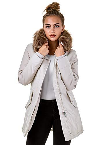 Burocs Damen Jacke Parka Winterjacke Kunstfellkapuze Schwarz Khaki BR1828-05, Größe:L, Farbe:Cremeweiß