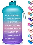 Venture Pal Large 128oz Leakproof BPA Free Fitness Sports Water Bottle with Motivational Time Marker to Ensure You Drink Enough Water Throughout The Day-1 Gallon-Green/Pink/Purple Gradient