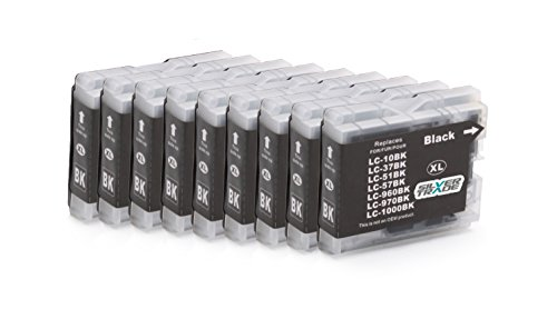 10x negro Compatible tinta cartuchos reemplazo for BROTHER LC1000 / LC970