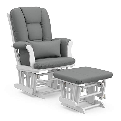 Pemberly Row Custom Glider and Ottoman Set in White and Grey with Lumbar Pillow - Smooth Rocking Chair for Baby Nursery, Padded Arm Cushions with Storage Pocket