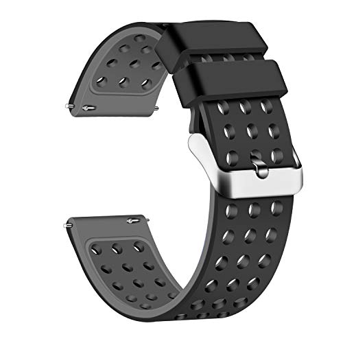 Lwsengme Silicone Quick Release - Choose Color & Width (18mm, 20mm,22mm) - Soft Rubber Watch Bands (Black/Gray, 22mm)
