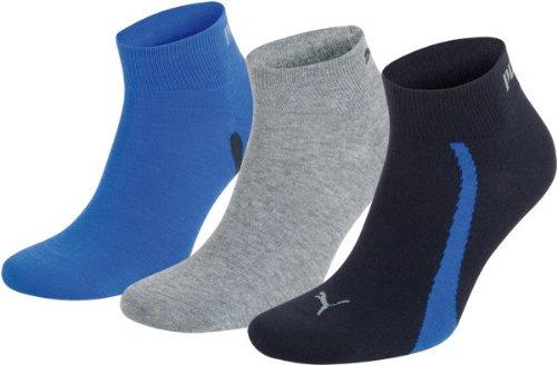 Puma Lifestyle - Calzini sportivi - Confezione da 3 - Grafica - Unisex adulto - Uomo - Multicolore (523 - Navy   Grigio   Strong Blue) - 43-46 EU