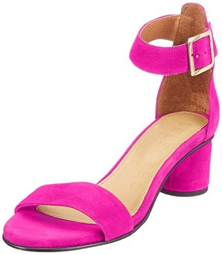 SELECTED FEMME Damen SLFMERLE Suede Round Heel Sandal B Riemchenpumps, Pink (Clover Clover), 39 EU