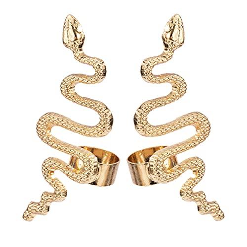 Generic 2Pcs Schlange Stud Ohrringe Gebogene Schlange Geformt Schmuck Schlange Ohrringe Gothic Frau Ohr- Stud Geschenk Legierung Ohr Schmuck für Frauen Mädchen Goldene