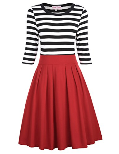 Valentine fashion dress with black and white stripes and red skirt.