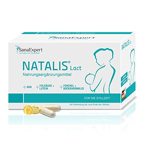 SanaExpert Natalis Lact, Breastfeeding Vitamins with DHA, Omega-3, folic Acid, Fennel, Fenugreek, 90 Capsules (1)