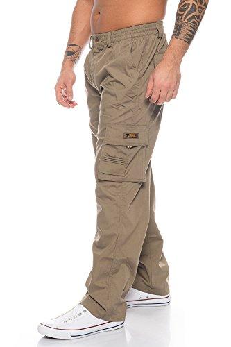 Benk Herren Cargo Hose Cargo Pants Unifarbe Arbeitshose Cargohose Cargopants Dehnbund (Camel, XXXL)