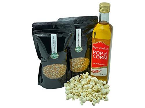 Hopser Food Fun Partyset Popcorn Zutaten 2 x 500g Premium Popcorn Mais, 500ml Popcornöl mit feinem natürlichem Butter-Aroma Popcornset für Popcornmaschine