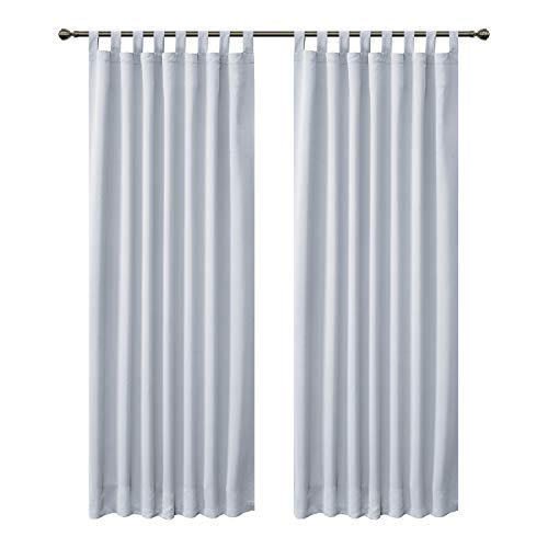 FLOWEROOM Blackout Curtains for Bedroom, Tab Top Thermal Insulated Window Treatments Curtain for Living Room, 2 Panels, 182 x 132 cm, Grayish White