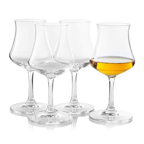 Bohemia Crystal Rum Glasses Set of 4 by Maison Forine Elegant and Durable Cordial Cognac Old Fashioned Glass 170ml -5.7oz