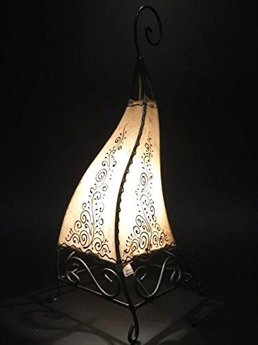 Orientalische Tischlampe Rahaf 50cm Lederlampe Hennalampe Lampe | Marokkanische kleine Tischlampen aus Metall, Lampenschirm aus Leder | Orientalische Dekoration aus Marokko, Farbe Natur