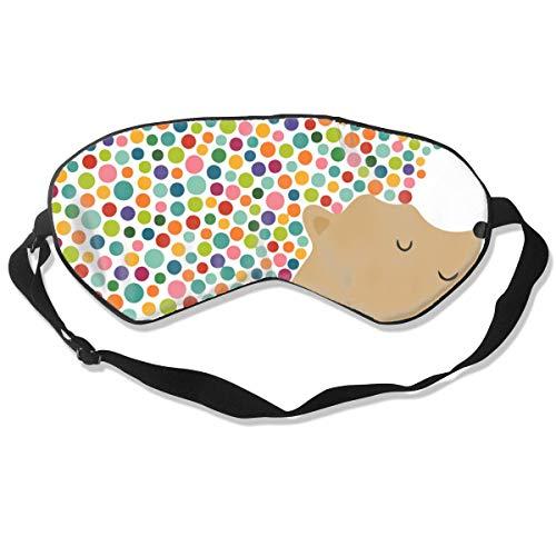 Schlaf-Augenmaske, süßer Igel, Seide, Maske mit verstellbarem Kopfband, Block, leichtes Nickerchen
