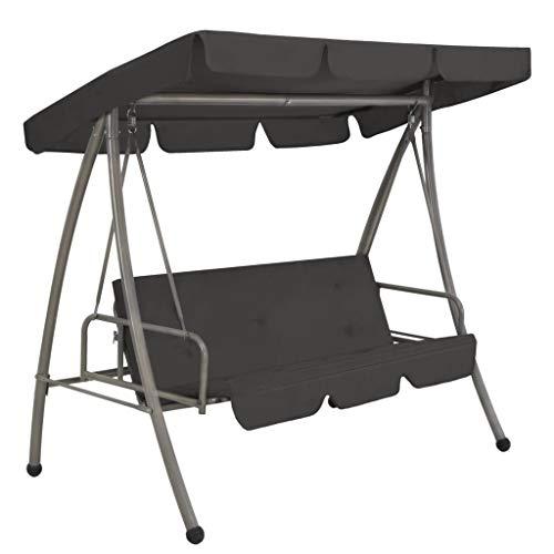 vidaXL Tuinschommelstoel met Luifel Staal Antraciet Tuinstoel Schommelstoel