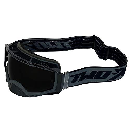 TWO-X ATOM Crossbrille grey - OUTBREAK getönt schwarz MX Brille Nasenschutz Motocross Enduro Spiegelglas Motorradbrille Anti Scratch MX Schutzbrille