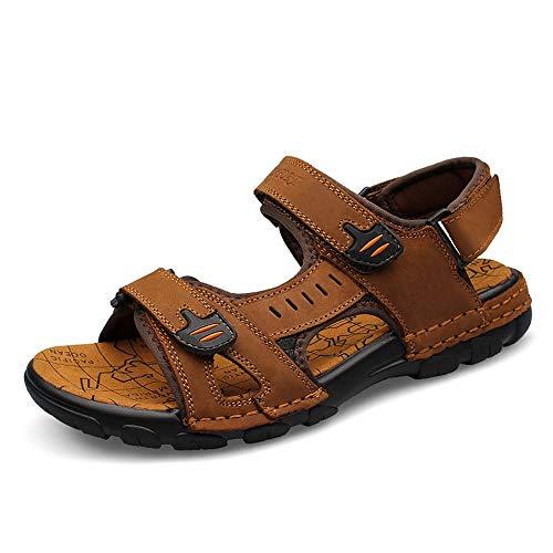 Y-hm diseño cómodo Sandalias de Correa de Gancho para Hombre resbalones en Estilo de Cuero sin Siquiera con Toe de Punta de Agua, Zapatos Deportivos de Playa Salvaje