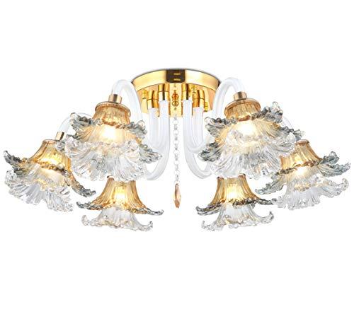 Kronleuchter Deckenlampe Led Deckenleuchte Lüster elegant Glas Gold Kristall mit Lampenschirmen für Wohnzimmer Schlafzimmer 60cm 6 Arm inkl. Led Leuchtmittel