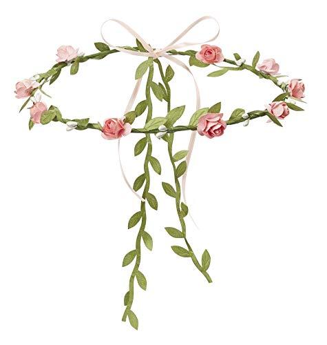 Miss Lovely Blüten-Kranz/Blumen-Kränzchen Haarreif Rosen in rosa Kopfschmuck Blumen-Kinder JGA-Party Junggesellinnen-Abschied Braut Hochzeit Verkleidung Deko Accessoires Zubehör Frauen & Mädchen