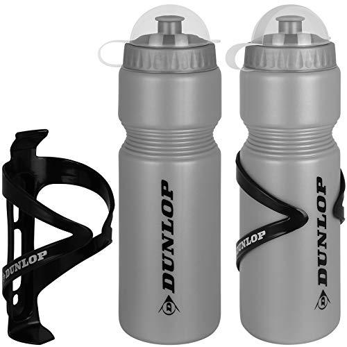 TW24 Dunlop Fahrradflasche 750 ml mit Halter 2 Stück mit Farbwahl Trinkflasche Fahrrad Wasserflasche Radflasche (Grau)
