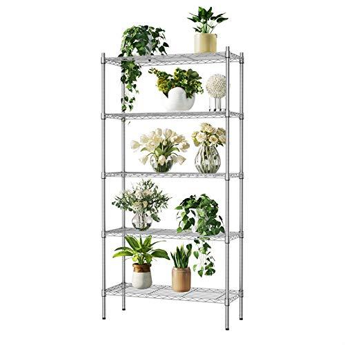 Auslar Lagerregal Metall Regalsystem 5 Regalböden bis zu 159 kg pro Metallböden 91 x 35,5 x 183 cm Küchenregal Regal für Küche Büro Garage usw.