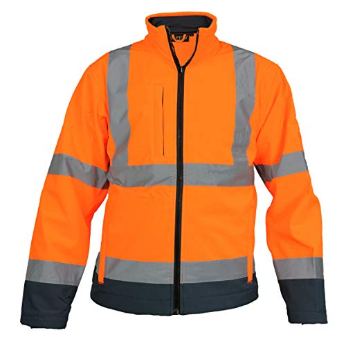 Insight High Visibility Softshell 2 Tone Jacket with Full Zip Front Fastening- Orange/Navy- S