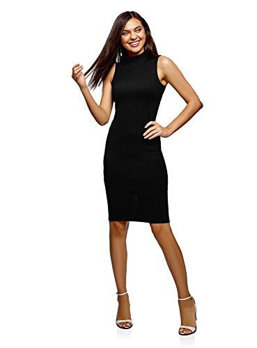 oodji Ultra Mujer Vestido Texturizado con Cuello Mao, Negro, ES 34 / XXS