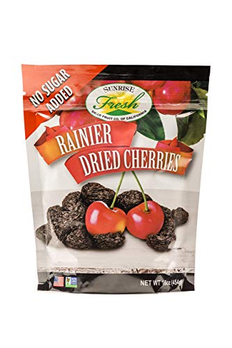 Dried Rainier Cherries, 16oz Bag, No Added Sugar, Sunrise Fresh Dried Fruit Co.