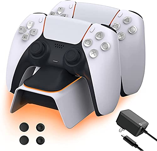 NexiGo PS5 Controller Charger with Thumb Grip Kit, Fast Charging AC Adapter, Dualsense Charging Station Dock for Dual Playstation 5 Controllers with LED Indicator, White