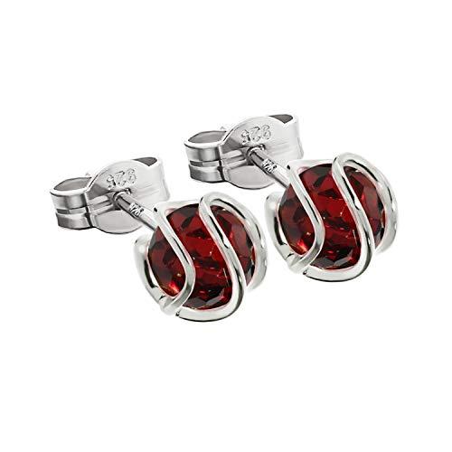 NKlaus plata par de aretes de bola de plata de ley 925 esfera granate pendientes 7mm zircon 7850