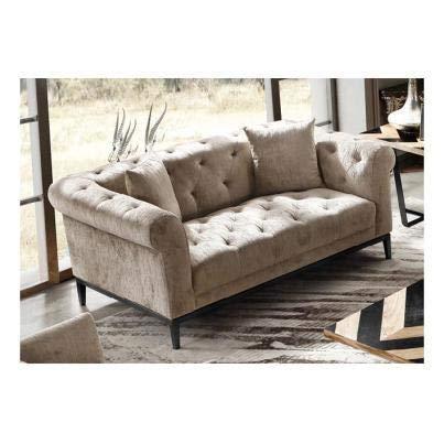 Luxus Home And Garden Oslo - Sofá de 2 plazas con base de metal (tejido de terciopelo neutro)