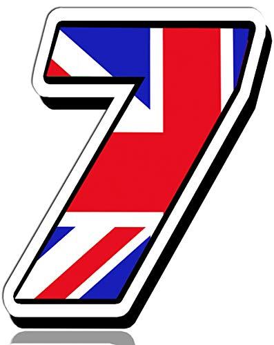 Biomar Labs® Adesivo Sticker Numero Racing 7 Gara Bandiera Nazionale Union Jack Regno Unito Inglese UK Flag Auto Moto Cross Rally Sport Tuning N 297