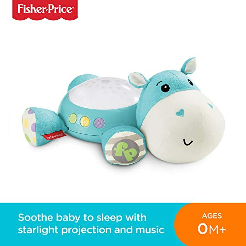 Fisher-Price CGN86 Hippo Plush Projection Soother, New-Born Soft Light Projector White Noise Toy
