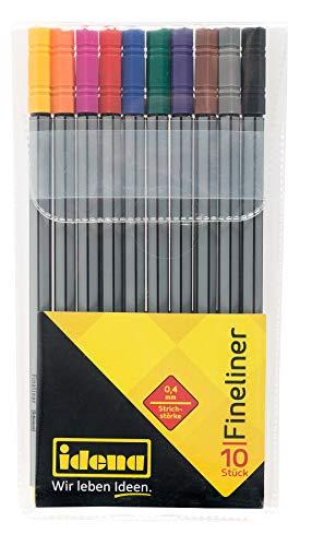 Idena 516113 - Fineliner im Etui, 0,4 mm Strichstärke, 10 verschiedene Farben, 1 Set