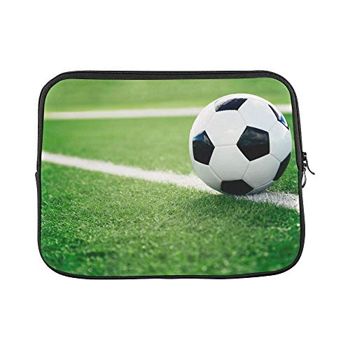"""Unique Custom Traditional Soccer Ball On Soccer Field Print Best Laptop Case Soft Neoprene Laptop Sleeve Briefcase Protective for MacBook Air 11"""""""