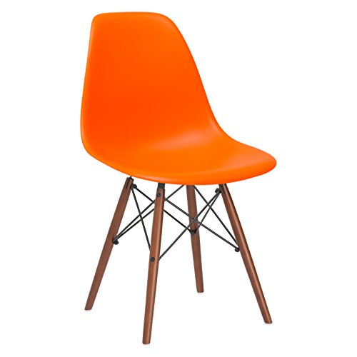 Poly and Bark Vortex Modern Mid-Century Side Chair with Wooden Walnut Legs for Kitchen, Living Room and Dining Room, Orange