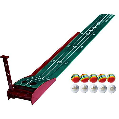 BUYAOBIAOXL Schlagmatte Golf Golf-Putting-Matten, grünen Golf-Praxis-Matte mit Auto-Ball-Rücklaufsystem tragbarer Golf-Praxis-Matte for Indoor/Home/Büro (Color : A, Size : 3m)