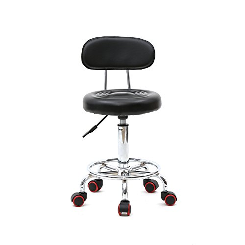 Rolling Stool with Back Adjustable Swivel Stool Massage Salon Spa Stool PU Leather Dentist Chairs (Round Shape Back, Black)