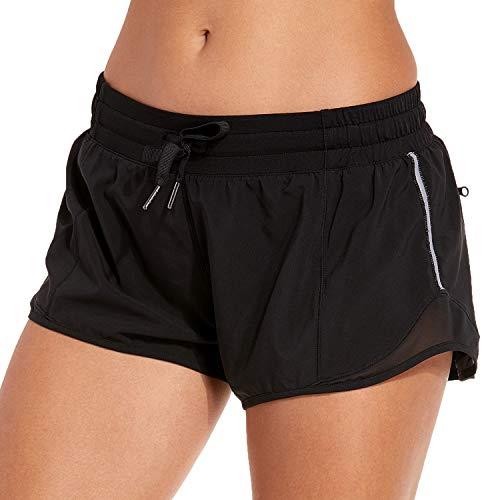 CRZ YOGA Pantalones Cortos Running Mujer con Bolsillo Trasero