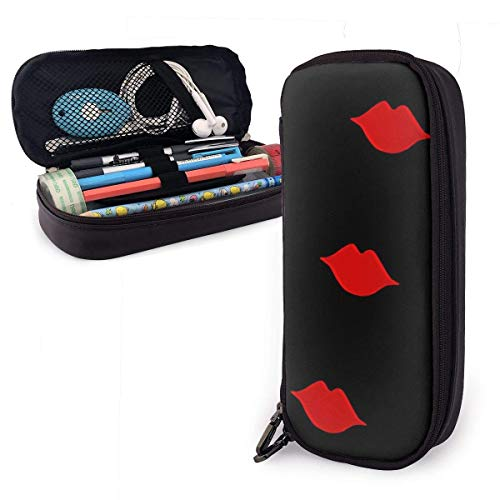 Red Kisses Leather Pencil Case Pouch Zippered Pen Box School Supply Big Capacity Stationery Box